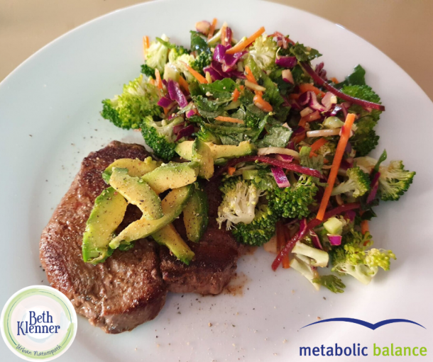 Metabolic Balance Beef with avocado and mixed salad