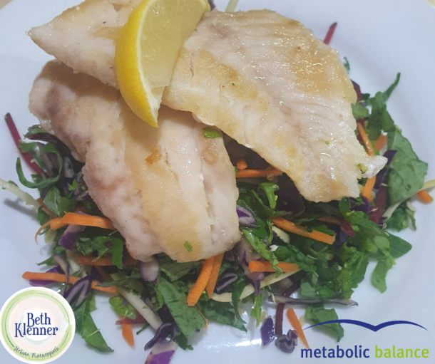 Metabolic Balance Fish pan fried with mixed garden salad