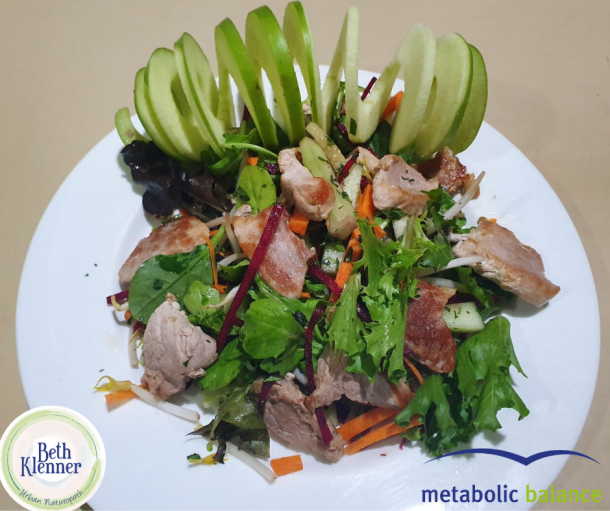 Metabolic Balance Pork with green leafy salad